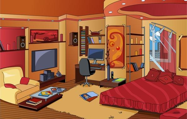 Картинка дизайн, комната, книги, кровать, интерьер, картина, кресло, подушки, окно, коврик, журналы, полки