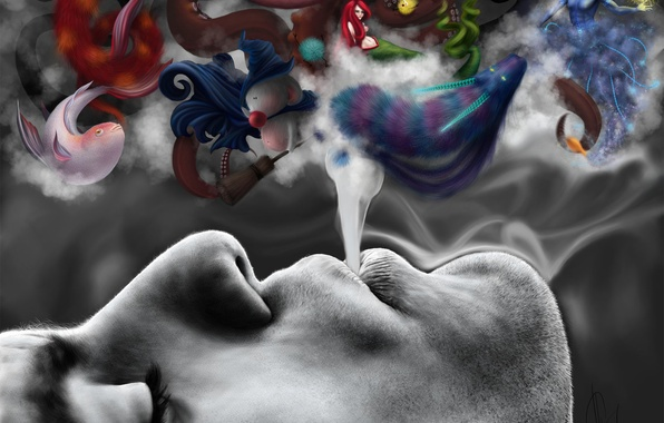 Картинка дым, существа, Imagine smoke, сказочные, воображение