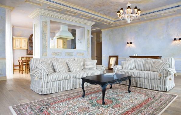 Картинка комната, отдых, мебель, интерьер, камин, голубая, обстановка