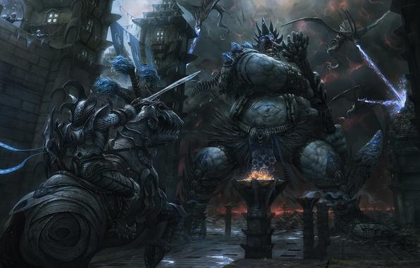 Картинка замок, конь, драконы, арт, монстры, гигант, всадник, битва