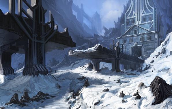 Картинка зима, снег, мост, камни, замок, человек, арт, руины, вход