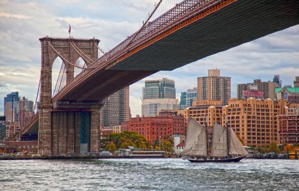 Картинка мост, пролив, здания, парусник, Нью-Йорк, Бруклинский мост, Манхэттен, Manhattan, New York City, Brooklyn Bridge, East …