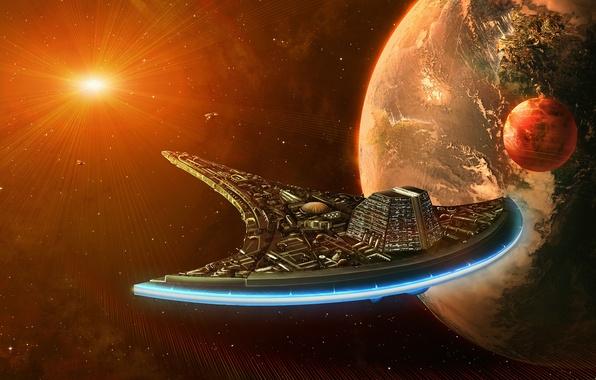 Картинка солнце, космос, фантастика, земля, планеты, корабль, арт, галактика