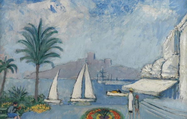 Картинка пейзаж, город, пальма, люди, лодка, дома, картина, яхта, парус, клумба, Kees van Dongen, Sailboats in …