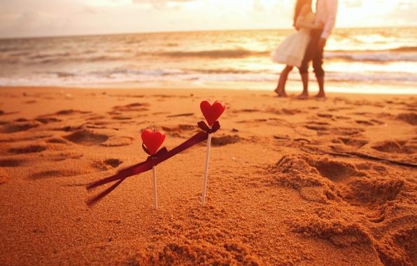 Картинка песок, море, волны, пляж, девушка, любовь, фон, обои, романтика, настроения, сердце, чувства, лента, сердечки, love, …