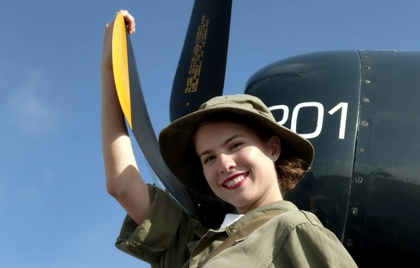 Картинка девушка, авиация, самолёт