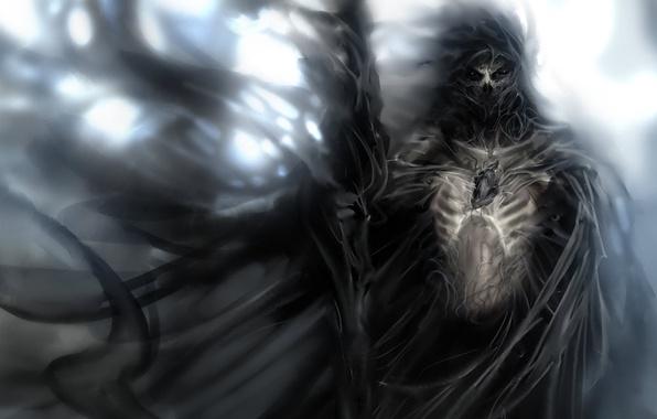 Картинка воин, скелет, посох, плащ, душа