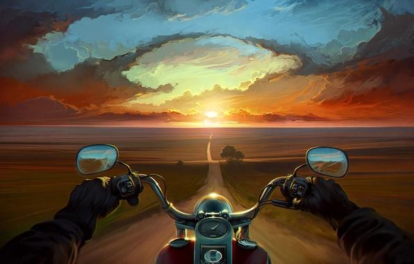 Картинка дорога, облака, деревья, закат, руки, арт, мотоцикл, байк