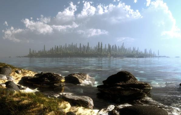 Картинка лес, вода, облака, деревья, пейзаж, озеро, камни, остров, арт, klontak