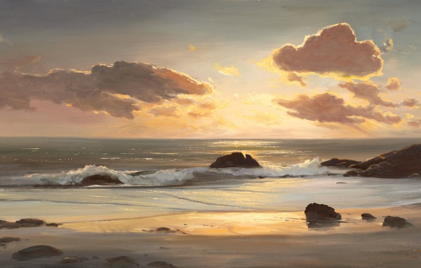 Картинка песок, море, волны, вода, облака, природа, камни, океан, пейзажи, камень, рисунок, картина, облако, арт, рисунки, …