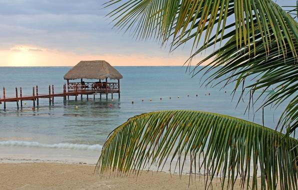 Картинка море, пляж, лето, пальма, отдых, берег, пирс, summer, beach, беседка, sea, arbor