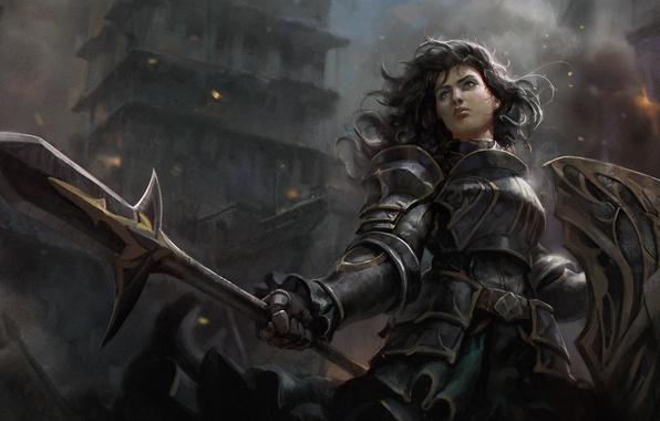 Картинка девушка, город, волосы, воин, арт, копье, щит, доспех