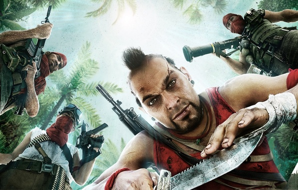 Картинка оружие, Игра, арт, мужчины, Far Cry 3