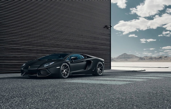 Картинка Lamborghini, Black, LP700-4, Aventador, Performance, Supercar, Wheels, HRE