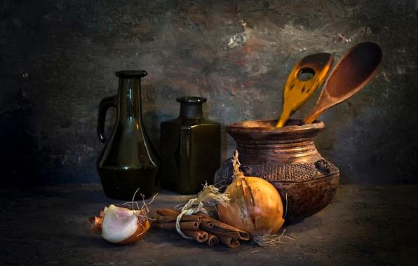 Картинка лук, бутылки, кувшин, натюрморт, корица, A French kitchen