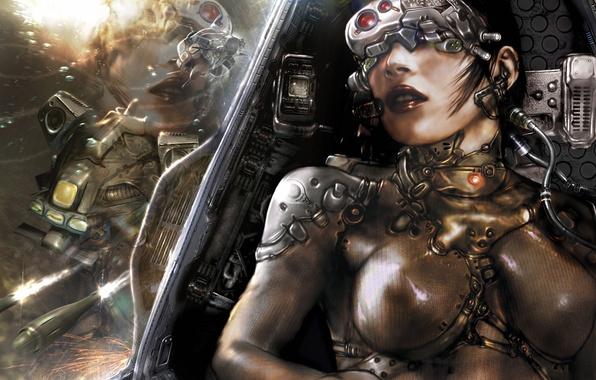 Картинка девушка, корабль, броня, подводный, aquanox, стычка