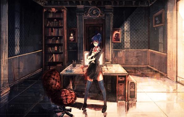 Картинка компьютер, девушка, свет, стол, комната, книги, череп, аниме, мышка, дверь, окно, арт, очки, стул, картины, …