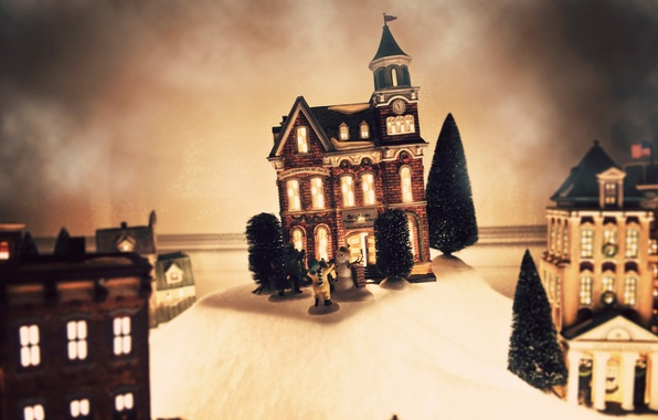 Картинка зима, праздник, игрушка, елки, елка, новый год, рождество, домик, снеговик, christmas, new year, макет
