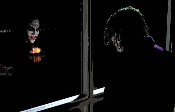 Картинка отражение, Джокер, The Dark Knight, Heath Ledger, Хит Леджер, Темный Рыцарь, The Joker, паромы