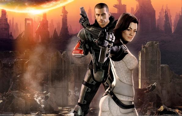 Картинка John Shepard, Miranda Lawson, Джон Шепард, BioWare, GameWallpapers, Mass Effect 2