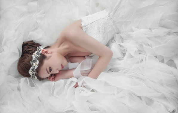 Картинка девушка, прическа, азиатка, невеста, белое платье