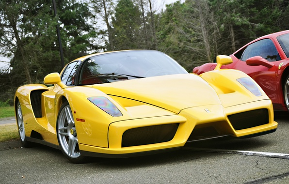 Картинка жёлтый, цвет, Ferrari, Enzo
