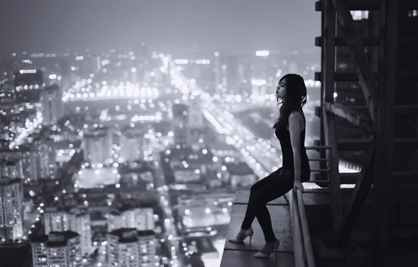 Картинка крыша, девушка, ночь, город, одиночество, печаль, высота, Вьетнам, loneliness, sadness