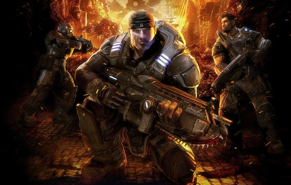 Картинка пушка, броня, gears of war