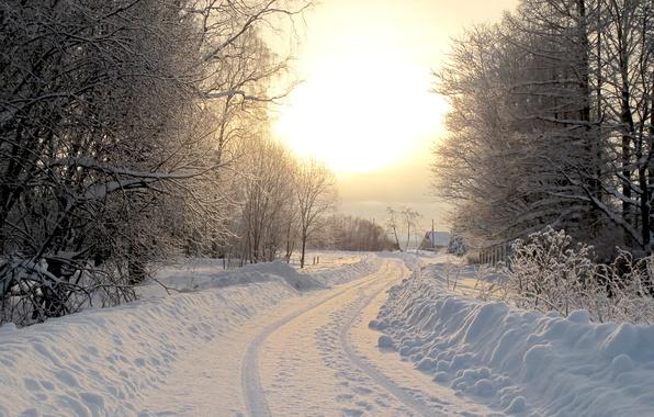 Картинка зима, дорога, снег, деревья, природа, дерево, пейзажи, дороги, дома, домики, леса