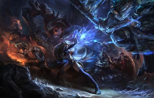 Картинка оружие, девушки, магия, монстры, битва, League of Legends