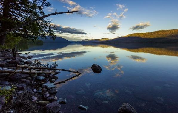 Картинка лето, прозрачность, деревья, озеро, отражение, камни, холмы, вечер