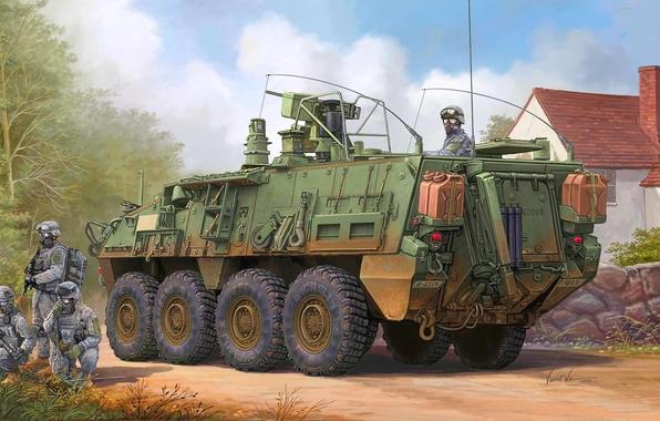 Картинка рисунок, страйкер, Vincent Wai, бронетранспортёр, химической разведки, разведывательная машина, Stryker M1135 NBC, ядерной, ВС США, …