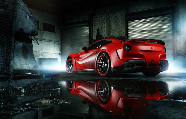 Картинка Ferrari, Red, Body, Supercar, Berlinetta, F12, Wheels, Wide, Rear, ADV.1, MC Customs