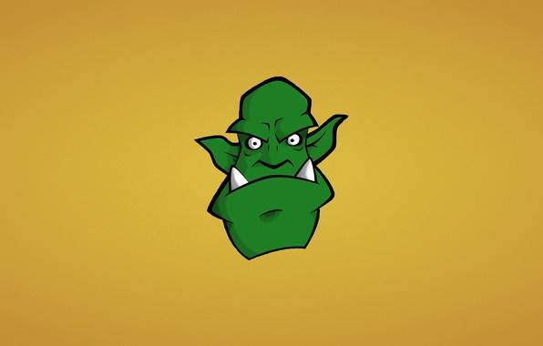 Картинка морда, зеленый, монстр, минимализм, голова, клыки, орк, orc
