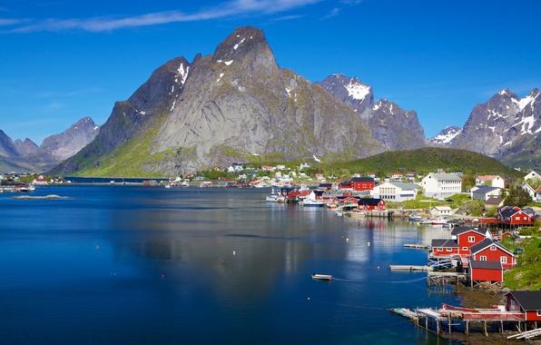 Картинка море, горы, побережье, Норвегия, городок, Лофотенские острова, Норвежское море, Lofoten