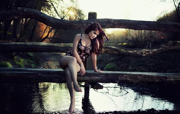 Картинка девушка, природа, деревянный, мостик, водоём