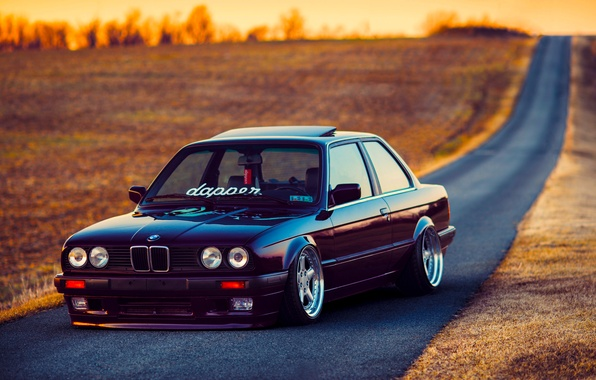 Картинка BMW, Car, Front, Black, Sun, E30, Stance, Dapper, Ligth, Beam