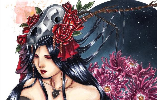 Картинка девушка, украшения, цветы, лицо, луна, волосы, япония, череп, ветка, макияж, закрытые глаза