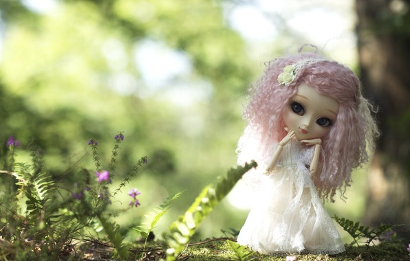 Картинка природа, игрушка, кукла, платье, розовые волосы