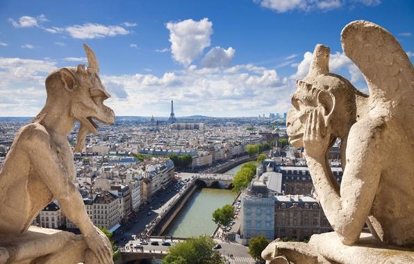 Картинка город, готика, вид, сцена, панорама, архитектура, France, Notre Dame de Paris, Нотр-Дам-де-Пари, горгульи