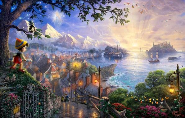 Картинка море, деревья, бабочки, закат, цветы, горы, птицы, мост, замок, сказка, корабли, вечер, арт, фонари, домики, …