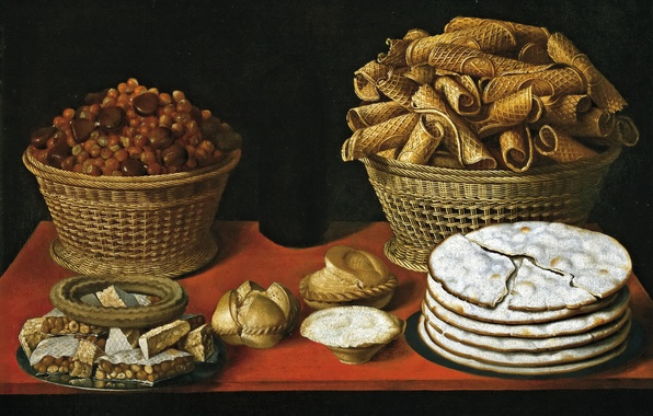 Картинка картина, натюрморт, выпечка, Томас Хепес, Сладости и Орехи на Столе