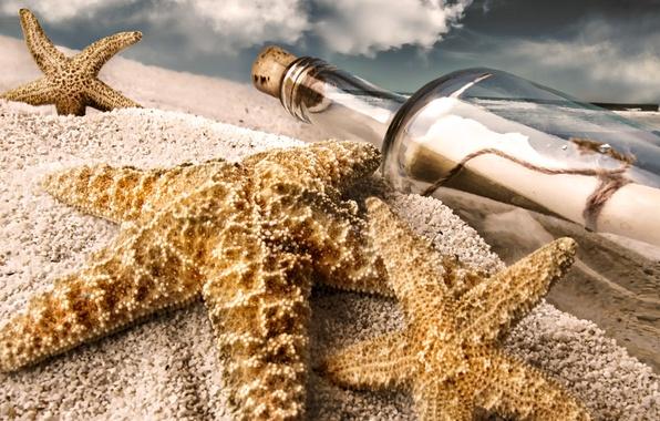 Картинка песок, пляж, бутылка, звёзды, записка