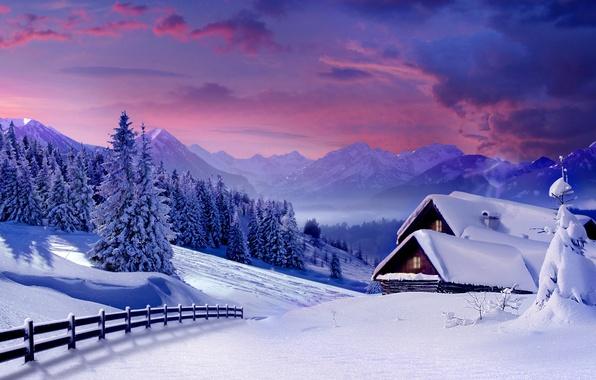 Картинка зима, снег, деревья, горы, дом, забор