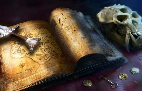 Картинка череп, карта, деньги, меч, ключ, клыки, книга, монеты, the elder scrolls, skyrim