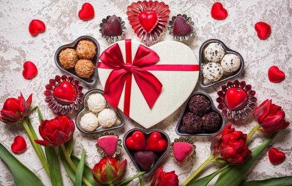 Картинка цветы, конфеты, сердечки, тюльпаны, День Святого Валентина