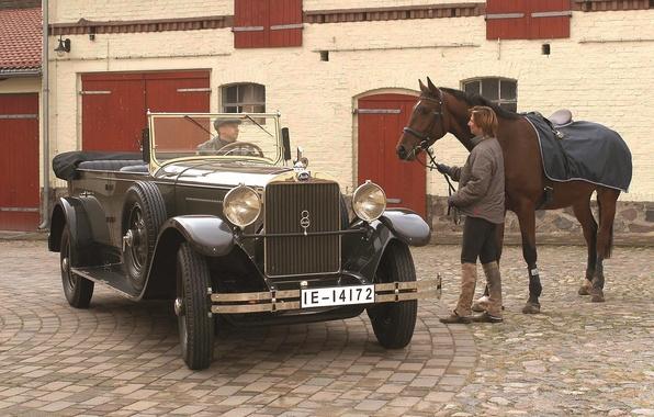 Картинка ретро, фон, Audi, лошадь, Ауди, мужчины, передок, 1929, Imperator