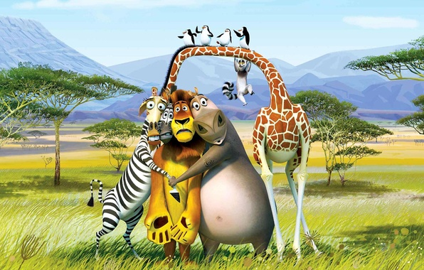 Картинка деревья, горы, пустыня, мультфильм, лев, пингвины, жираф, зебра, лемур, Африка, Мадагаскар, Мелман, Алекс, король Джулиан, …