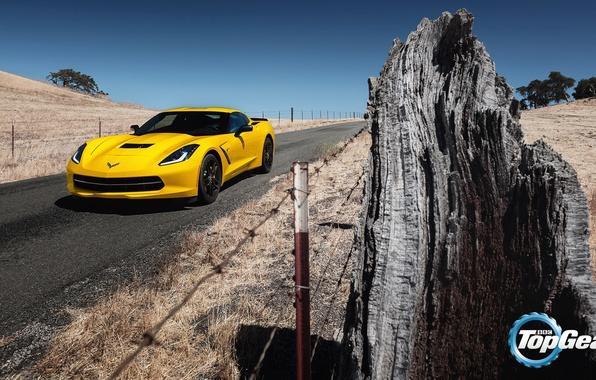 Картинка дорога, желтый, Corvette, Chevrolet, Шевроле, Top Gear, Coupe, передок, самая лучшая телепередача, высшая передача, топ …