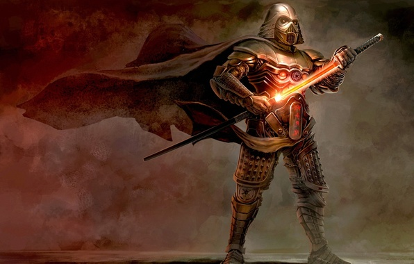 Картинка ветер, меч, арт, шлем, star wars, Darth Vader, броня, плащ, Vader, Samurai